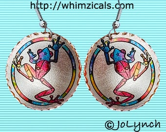 Tree Frog Colorful Earrings Art Jewelry