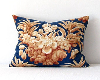 Pillow/ Vintage Fabric Pillow Blue Floral Cotton Linen