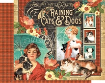 Graphic 45 Raining Cats and Dogs Scrapbook Paper, 2 pcs.