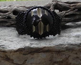 Jewelry - Free Form Peyote Stitch Beaded Bracelet  - Joy - Bead Weaving - Vintage Button Cabochon - DISCOUNTED