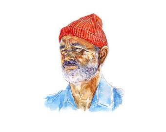 Bill Murray Life Aquatic Zissou inspired Watercolour Print