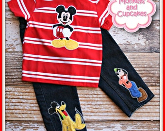Boys Custom MICKEY Applique jeans shirt set 12m - 6 MDCT Boutique
