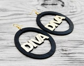 Diva Earrings, Diva Wood Earrings, Wood Earrings, Black Earrings, Big Wood Earrings, She's A Diva Wood Earrings