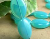 Caribbean Blue Opal Czech Glass Beads Oval Milky Aqua 16x11mm (10)