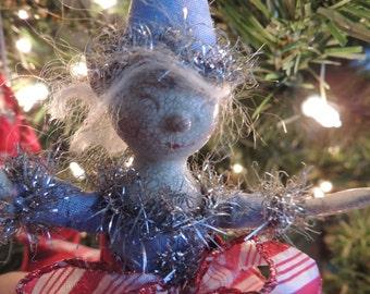 "oOaK 7"" 2014 Blue Stocking Elf Christmas Ornament ~ Dingle"