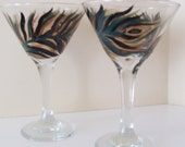 Peacock Feather Martini Glasses Hand Painted