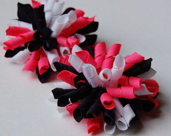Neon Pink and Navy Mini Korkers Set of 2 Hair Bows