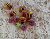 PIF Destash Lampwork and Wooden Beads Orchid Lavender Yellow Orange Red