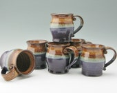 Large Pot Belly Coffee Mug in Honey Brown and Purple, Ready to Ship 16 oz Handmade Ceramic Mug, Available in Quantity