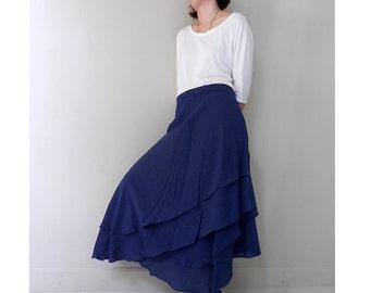 Navy Blue Cotton Knee 2 Layers Circle Wrap Skirt (H)
