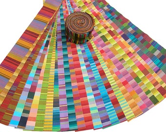 "Kaffe Fassett WOVEN STRIPES Strip Roll 2.5"" Precut Fabric Quilting Cotton Strips Jelly Westminster Fibers"