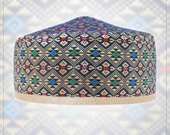 Hat - bucharian style kippah yarmulke. Wedding - Bar Mitzvah - Shabbat