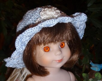 Crochet Hat for Tonner 14 16 inch Doll Head size 8 1/4 inches Soft Blue White Bow Pearls