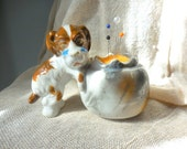 Vintage Grumpy Dog with Sack Planter remade into Pin Cushion