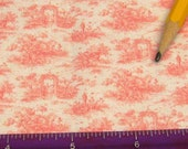 Dollhouse Miniature Victorian UPHOLSTERY FABRIC Pink Garden Toile 1/12th