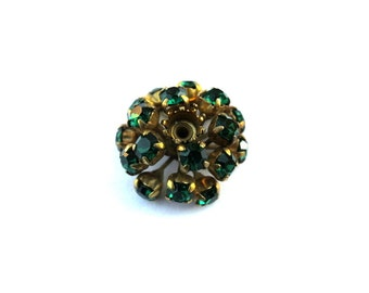 Antique vintage SWAROVSKI BEAD flower shape, metal flower with green crystals- RARE