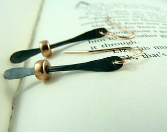 Black Sterling Silver Rose Gold Fill Earrings