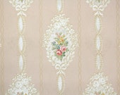 1930s Vintage Wallpaper by the Yard - Ribbons and Roses on Pink, Floral Wallpaper
