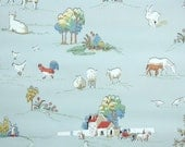 1930s Vintage Wallpaper by the Yard - Farm Animals Scenic Novelty Wallpaper