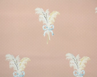 1930s Vintage Wallpaper by the Yard - White and Yellow Feather Bouquets on Pink