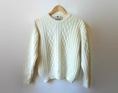 Cable Knit Sweater, Ivory White Women Pullover, 80s Clothes, Aran Sweater Vintage Knitwear Antique White Wool Women Sweater 2nd Hand Clothes