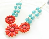 Red and Turquoise Beaded Flower Necklace