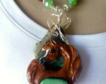 Wire Wrapped Chestnut Arabian Horse Pendant Necklace