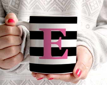 Personalized Coffee Mug -Wide stripe with initial - Choose any color!