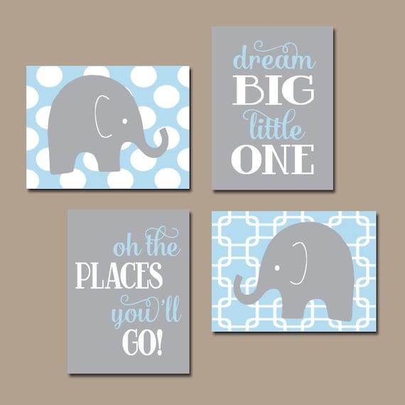 boy elephant wall art baby boy nursery decor light blue gray. Black Bedroom Furniture Sets. Home Design Ideas