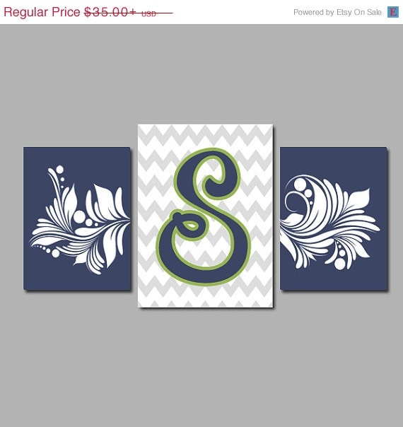 monogram wall art canvas or prints navy green grey by