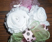 Baby Shower Corsage White with Pink and Brown Polka Dot Trim or Any Color or will custom make Boy or Girl.