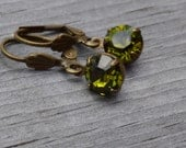 Olivine Rhinestone Earrings, Antique Brass Lever Back, Olive Green Swarovski  Earrings, Gift for Her, Lapin du Printemps
