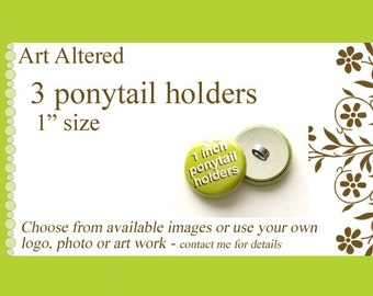 """Your Choice 3 Ponytail Holders Hair Ties 1"""" choose from available images party favors stocking stuffers office gifts pony tail holders flair"""