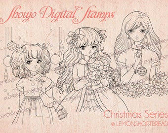 Christmas Shoujo Girls Digital Stamps Set, Digi Download, Merry Winter, Coloring Page, Clip Art, Retro Fashion, Scrapbooking Supplies