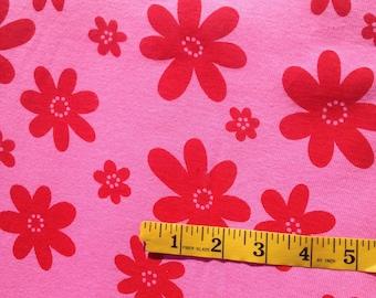 Euro Red Flower Knit Valentine Fabric Cotton