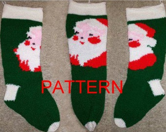 Santa Face Knit Christmas Stocking Pattern *NEW FOR 2014*