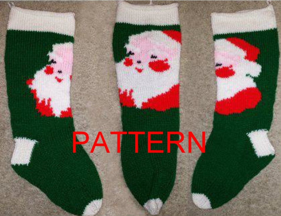 Santa Face Knit Christmas Stocking Pattern NEW FOR 2014