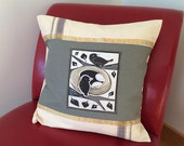 Decorative Throw Pillow- Birds and Nest- vintage sari fabric linen- 20 inch square