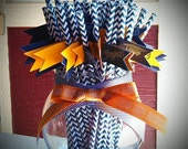 Set of 50 ~ Custom GRADUATION Paper Straws in Your School Colors Plus a Glass Bowl by EKC