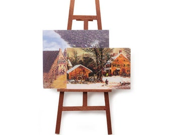 Miniature Artist Easel with Paintings