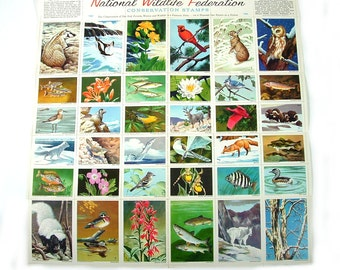 1963 National Wildlife Federation Conservation Stamps - Animals - Two Sizes / Full Sheet of 36