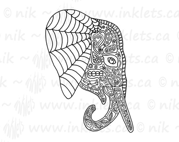Elephant DIY Printable Coloring Page - Day of the Dead - Instant Digital Download JPG - Inklets Illustration - Elephant Digi Stamp