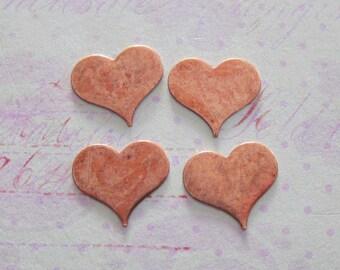 SALE 4 Copper Heart Findings 3617