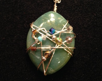 Green Agate Wire Wrapped Pendant