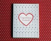 Letterpress Card - arrow congratulations lovebirds
