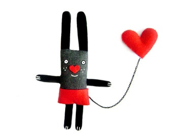 Handmade Bunny Pin, Animal Brooch, Felt Animal, Cute Heart Jewelry