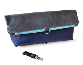 Leather Foldover Bag / Oversized Clutch - The Lulu Travel Clutch in Dark Slate Grey and Royal Blue