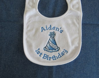 My First Birthday Personalized White Baby Bib - Party Hat - Custom Orders Welcome....