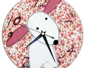 Rabbit Clock / Bunny Wall Clock / Nursery Clock / Easter GIft / Nursery Decor / Fabric Clock