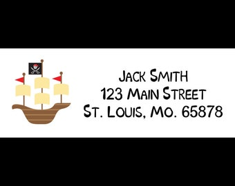 30 Personalized Return Address Labels - Pirate Ship